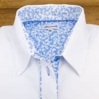 Grenouille Ladies Long Sleeve White Shirt with Blue and White Small Flower Detailing